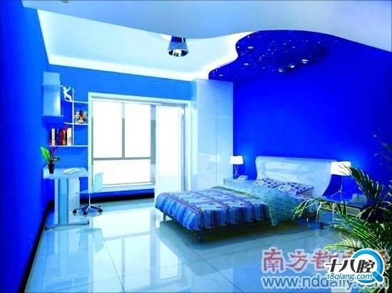 蓝色欧式沙发窗帘