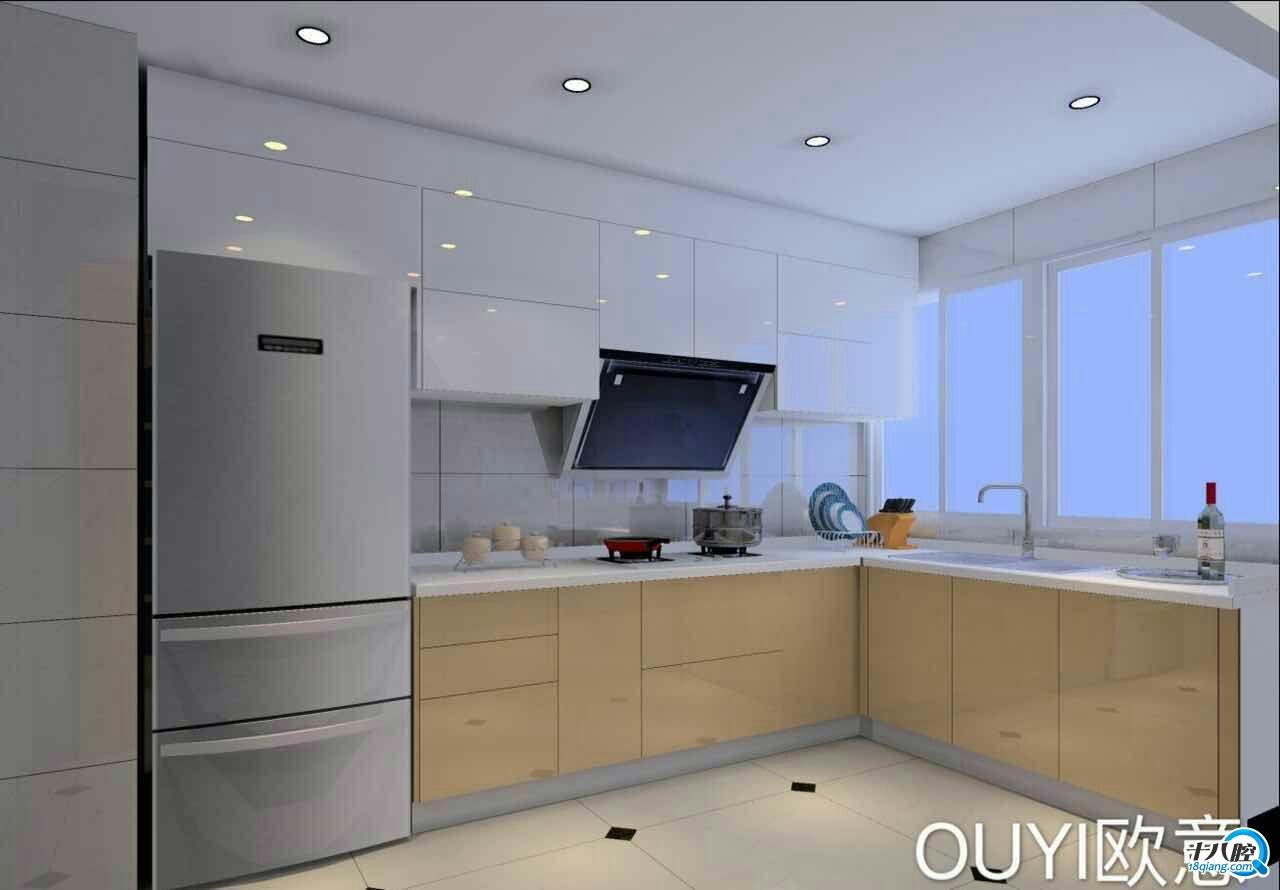 后面有所改动,放一张厨房效果图,冰箱上面的柜子已经去掉