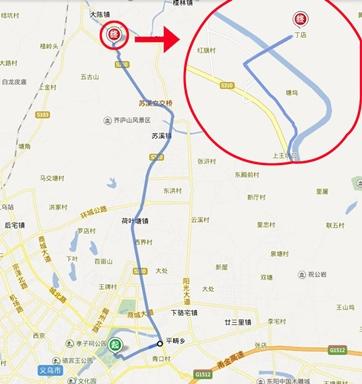 """18005791818 【 自驾路线】 导航搜索"""" 义乌梅湖体育馆""""——"""" 大陈镇"""