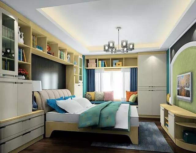 卧室床头书架效果图