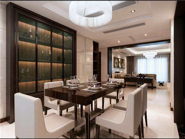 餐厅的酒柜设计,与餐桌近相呼应,整体来看和谐不失风味.